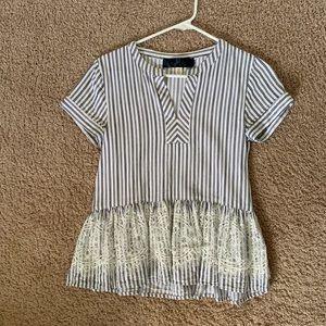 Francesca's Striped Lace Blouse